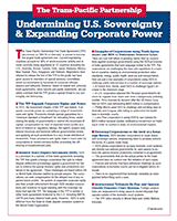 The TPP: Undermining U.S. Sovereignty & Expanding Corporate Power=